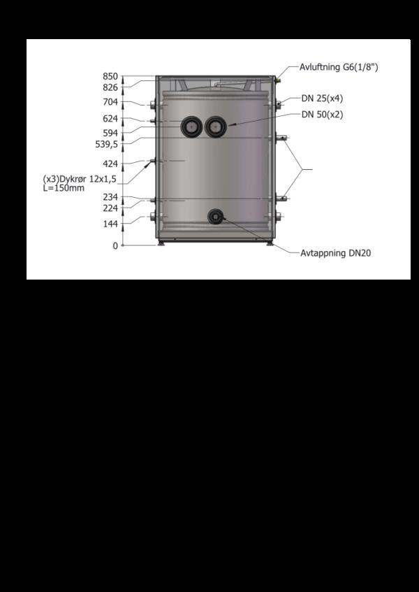 Boroe_VP-Tank DN150_teknisk_tegning_front